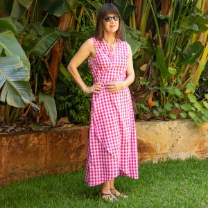 Pink and white gingham wraparound dress