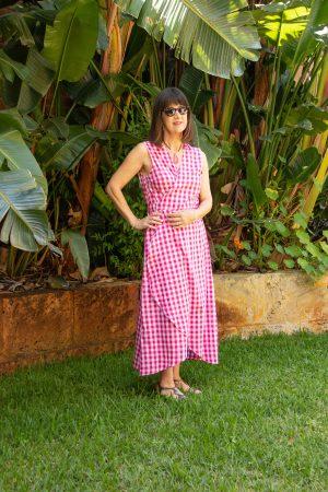 Pink and white gingham wraparound dress