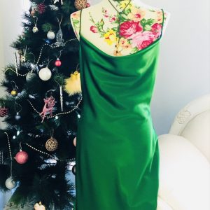 Green satin cocktail dress