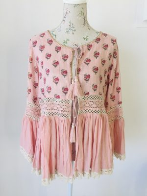 Pink and lace cotton cardigan