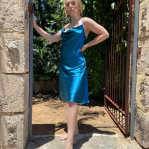 Teal blue satin cocktail dress
