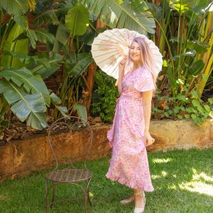 Pink floral wraparound dress