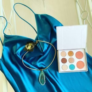 Teal satin cocktail dress