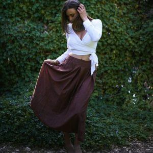 Brown gathered skirt