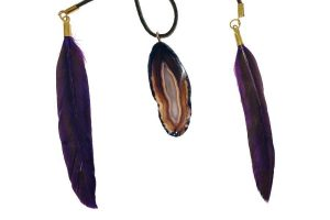 Agate Slice Necklace with Feathers